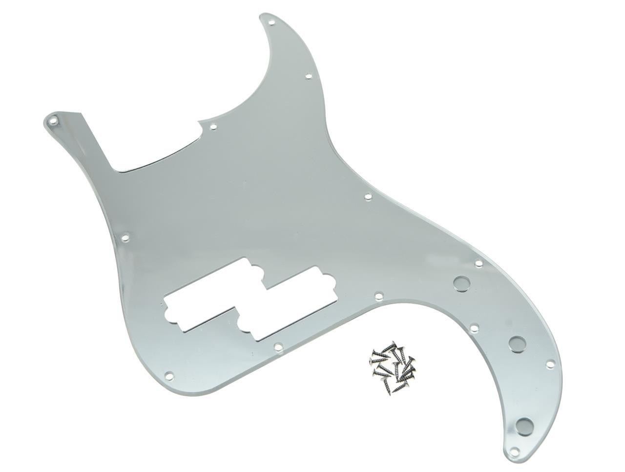 KAISH 13 Hole Precision Bass Pickguard PB P Bass Scratch Plate Fits USA/Mexican Fender Precision Bass Silver Mirror