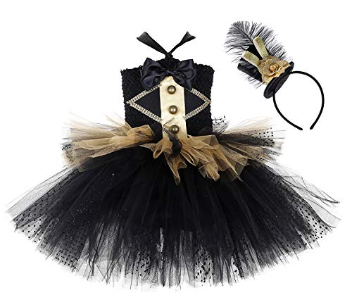 Tutu Dreams Black Circus Costume Girls Kids Steampunk 80' Rock Star Bank Dress Up (Black Ringmaster, -