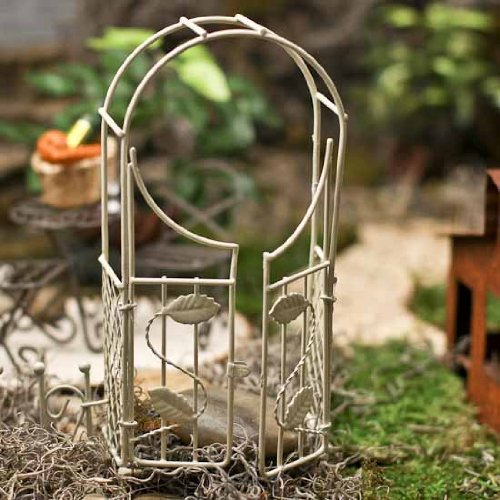 Vintage Look Antique White Garden Arch with Movable Gate Opening for Fairy Gardens or Gnome Villages