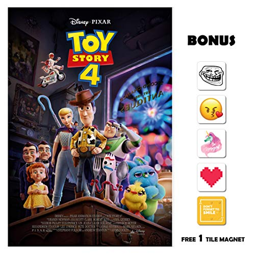 Movie Poster Toy Story 4 (2019) 13 in x 19 in Borderless + Free 1 Tile Magnet ()