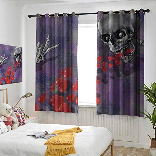 hengshu Skull Blackout Curtains for Bedroom Skeleton in Love Throw Out Puke of Hearts Romantic Gesture Valentines Art Pattern Curtains Long W42 x L36 Inch Grey Red and Purple