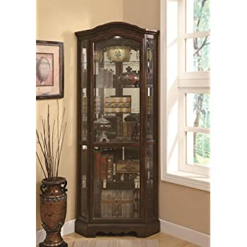 5-Shelf Corner Curio Cabinet Medium Brown and Clear
