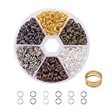7 mm split rings - PandaHall Elite About 800 Pcs Iron Split Rings Double Loop Jump Ring Diameter 7mm Wire 21-Gauge 6 Colors for Jewelry Findings