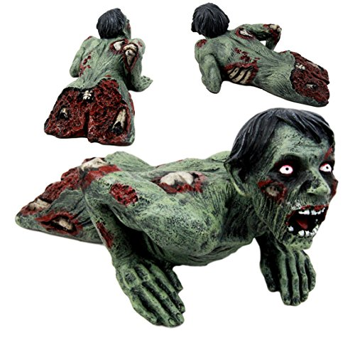 Crawling Zombie Prop (Atlantic Collectibles Crawling Zombie Walking Undead With Severed Body Peeling Flesh Decorative Figurine Door Stopper 9.25