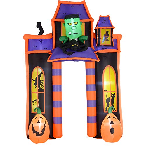 HOMCOM 10' Halloween Inflatable Archway Indoor Outdoor Decoration - Frankenstein Haunted House