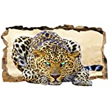Startonight 3D Photo Decor Blue Eyes Leopard Amazing Dual View Surprise Large 32.28 inch By 59.06 inch Wall Mural Wallpaper for Living or Bedroom Animal Collection Wall Art