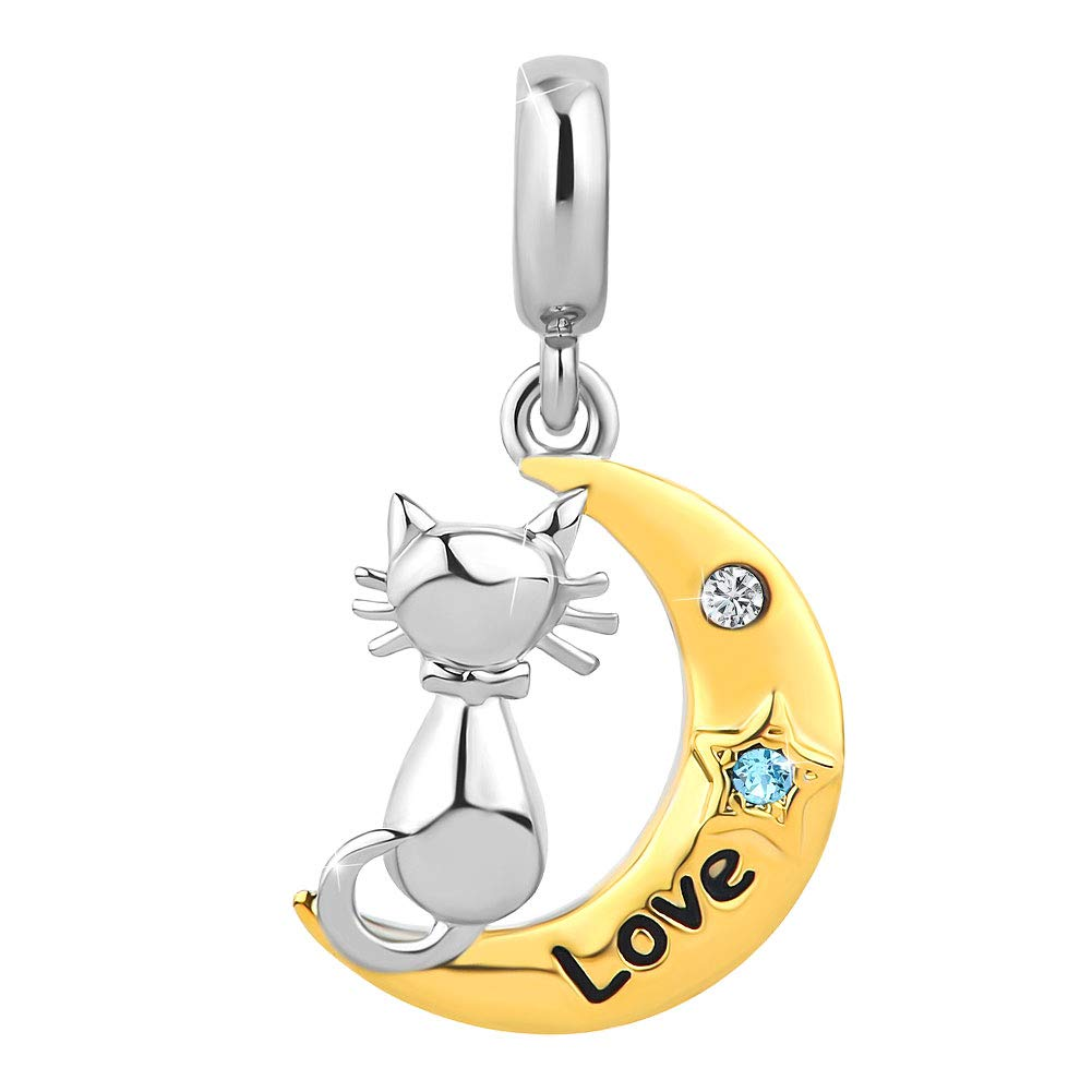 Korliya Cat I Love You to The Moon and Back Perle Charm pour Bracelet