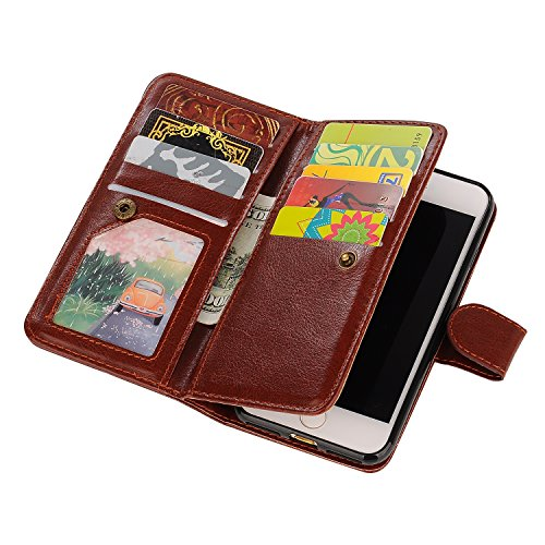 iPhone 6 Plus Wallet Case, iPhone 6s Plus Case, SUPZY Leather Detachable Magnetic Flip 9 Card Slots Holder Wrist Strap Purse Removable Slim Protective Cover for iPhone 6/6s Plus (Brown)