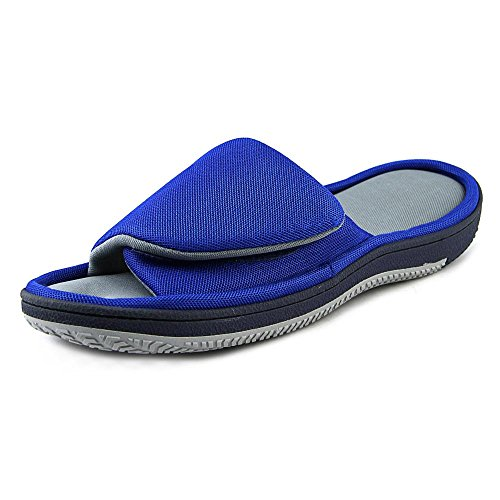 Isotoner Men's Signature  Mesh Velcro Slide with Moisture Wicking, Navy, X-Large (Athletic Canvas Sandals)