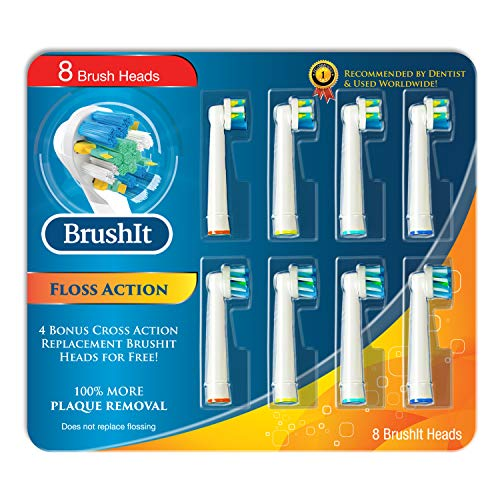Toothbrush Replacement Brush Heads Refill for Oral B Braun Electric Toothbrush, Pro1000 Pro1500 Pro3000 Pro6000 Pro7000, Genius 8000 9600, 4 Floss Action, 4 Cross Action, 8 Count (Oral B Professional Braun Heads)