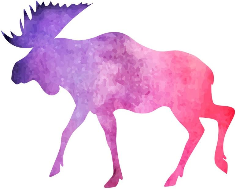 Applicable Pun Watercolor Moose Violet Purple and Pink - Vinyl Decal for Outdoor Use on Cars, ATV, Boats, Windows and More - Color 4 inch