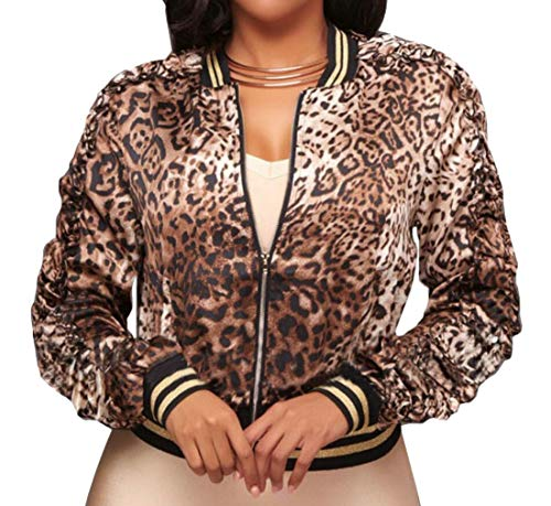Spirio Women's Baseball Stand Collar Zip-Up Leopard Print Bomber Jackets Coat (Leopard Print Trench)