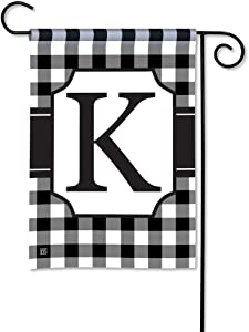 BreezeArt Studio M Black & White Check Monogram K Decorative Garden Flag – Premium Quality, 12.5 x 18 Inches