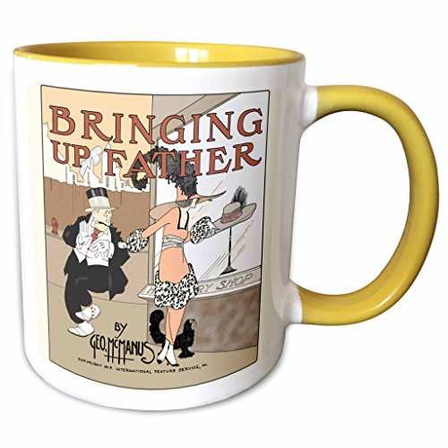 3dRose 777images Designs Cartoons - Copy of a 1919 cartoon comic book cover of Bringing Up Father with Maggie and Jiggs Series 3 - 11oz Two-Tone Yellow Mug (mug_151950_8)