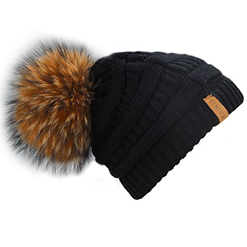 Furtalk Women's Thick Slouchy Real Fox Raccoon Fur Pom Pom Winter Knit Beanie Bobble Hat Caps (Black+Raccoon (Fur Crocheted Hat)