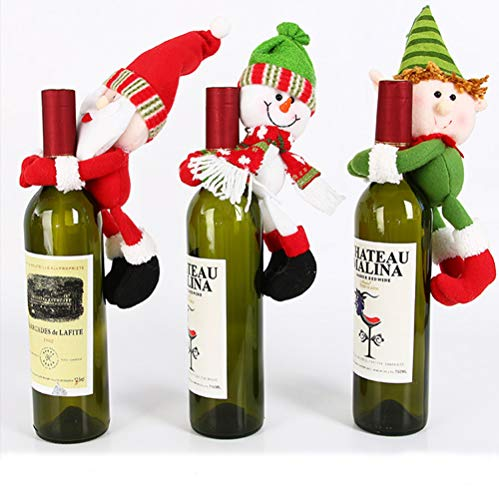 (MSQ Table Decorations 3pcs Wine Bottle Cover Ornament Wedding Table Decorations Novelty Decoration Snowman Santa Clause Lovely Hug (Red+Green+White))