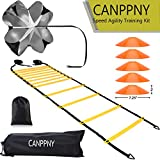 CANPPNY Speed Agility Training Kit—Includes Agility Ladder with Carrying Bag, 5 Disc Cones, Resistance Parachute.Use Equipment to Improve Footwork Any Sport.
