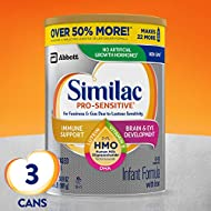 Similac Pro-Sensitive Non-GMO Infant Formula with Iron, with 2'-FL HMO, for Immune Support, Baby Formula, Powder, 34.9 oz, 3 Count (One-Month Supply) (Packaging May Vary)