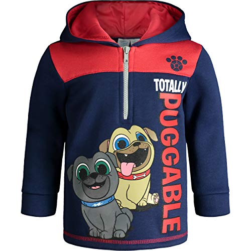 Disney Puppy Dog Pals Toddler Boys' Fleece Hoodie Pullover Sweatshirt with Zipper (Navy, - Boys Puppy Toddler