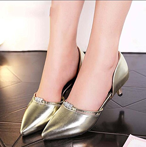 Gold Women's Party Dress Red amp; Office Leatherette amp; D'Orsay Two amp; Heel Gold Silver for Kitten MHX Career Shoes Spring Green Summer Piece Evening Pink dOnxadZgRw