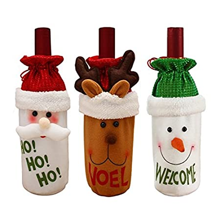 Set di 3 bottiglia di vino rosso di vino coperchio vino decorazione Elk, Pupazzo di neve e Babbo Natale vino regalo borsa bottiglia di vino abiti vacanza festa di vino bottiglia borsa casa decorazione tavola decorazione natalizia(Set di 3) Shock222