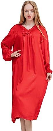 HGDR Camisones para Mujeres Camisa De Manga Larga De Satén Suelto Rojo Púrpura Camisón De Las Señoras Camisa para Dormir Camisa De Dormir Tallas Grandes,Red-S: Amazon.es: Hogar