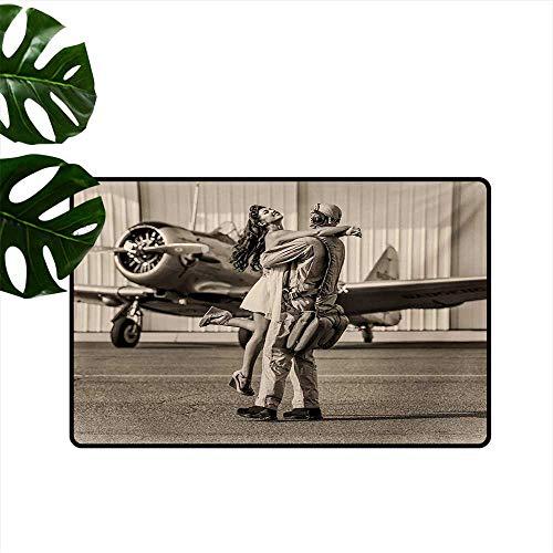 Decorative Floor mat,Brunette Young Woman Hugging a Pilot Historical Aircraft Homecoming Image Print 24