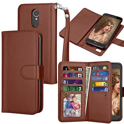 Tekcoo for LG Stylo 3 Wallet Case/LG Stylo 3 Plus/LG Stylus 3 PU Leather Case, Luxury ID Cash Credit Card Slots Holder Carrying Flip Folio Cover [Detachable Magnetic Hard Case] - Case 3 Style