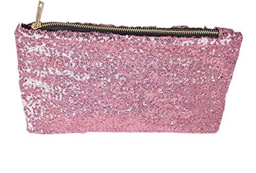 Pink Handbag Bag - Women Fashion Dazzling Sequins Zipper Clutch Evening Party Bag (Pink)