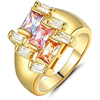 Ransopakul 24k yellow gold filled Colorful Cocktail Radiant Topaz Cluster party ring Sz6-9 (9)