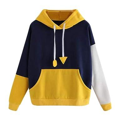 ... Damen Herbst Shirt Frauenhemd Lässiges Pullover Frau Große Größe  Sweatshirt Nähen Kontrastfarbe Lange Ärmel Mit Kapuze Sweatshirt  Amazon.de   Bekleidung 2f1e0509c5