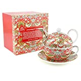 WIlliam Morris Red Strawberry Thief Tapestry Tea For One Teapot Cup & Sauc