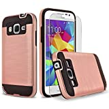 Galaxy J1 Case, 2-Piece Style Hybrid Shockproof Hard Case Cover + Circle(TM) Stylus Touch Screen Pen And Screen Protector - Rose Gold