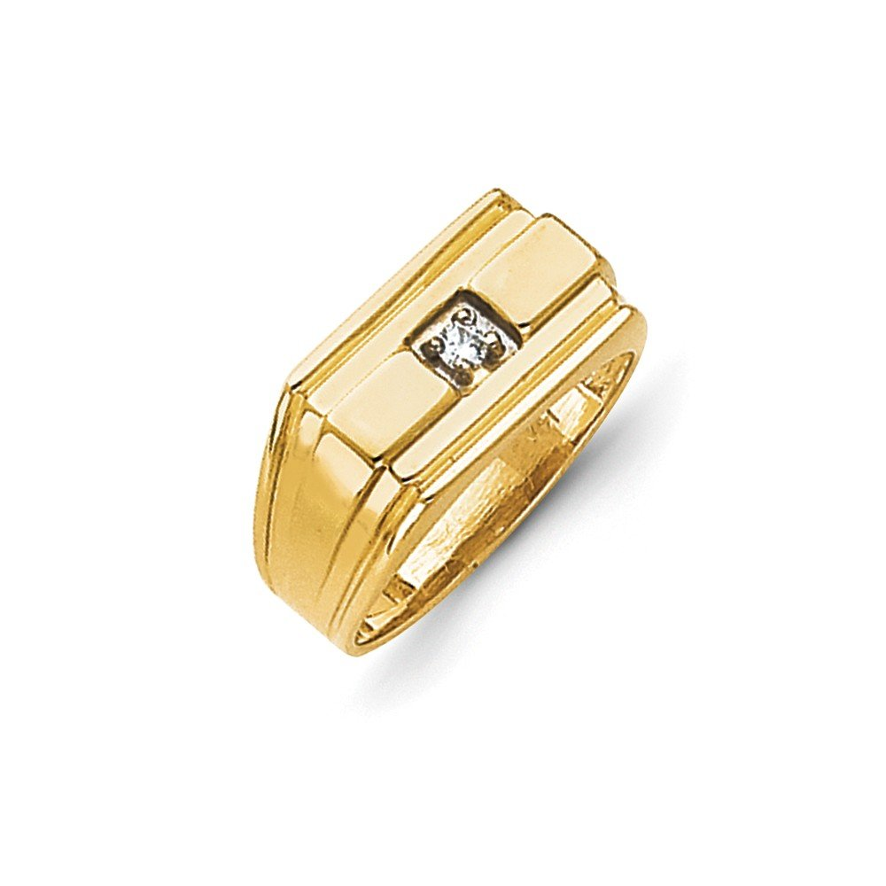 1/20 CT 14k Yellow Gold Polished Diamond Men's Band. 0.059 ctw. Size 10.5 by JewelrySuperMart Collection