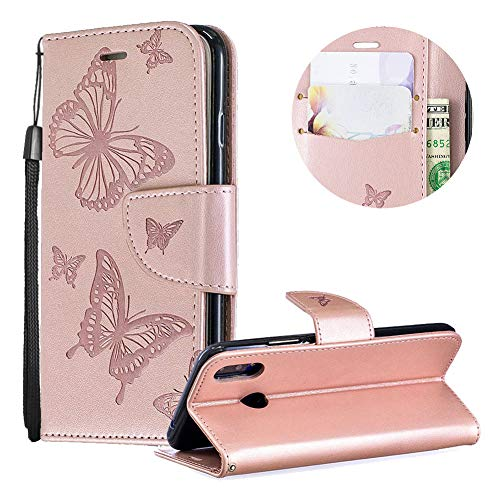 Huawei P Smart Plus Case,PU Leather Wallet Case for Huawei P Smart Plus,Moiky Luxury Rose Gold Butterfly Pattern Embossed Soft Leather Purse Flip Magnetic Stand Shockproof Case Cover with Card Slots - Inner Embossed Gold Lip