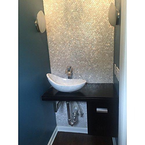 AFSJ Genuine White Herringbone Mother of Pearl Tile 12 Packs-Bathroom Kitchen Backspalsh by AFSJ (Image #1)