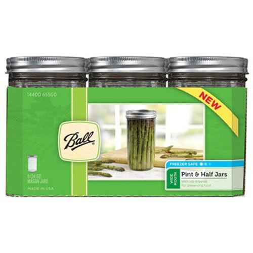 Ball Jar Wide Mouth Pint and Half Jars with Lids and Bands, Set of 9 Home Canning Lids