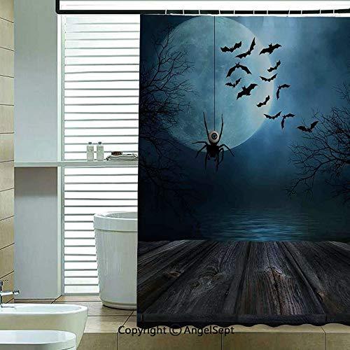 Fashion Shower Curtain,Misty-Lake-Scene-Rusty-Wooden-Deck-Spider-Eyeball-and-Bats-Moonlight,70.8x72 inch,Bathroom Decor,Blue-Brown ()