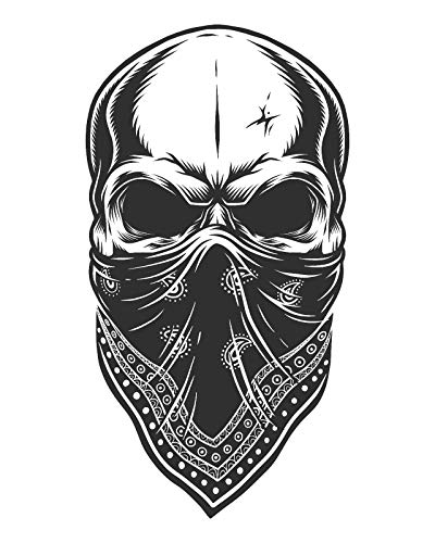 (Crazy Discount Skull Bandana Helmet Motorcycle Vinyl Sticker Decal Outside Inside Using for Laptops Water Bottles Cars Trucks Bumpers Walls, 3