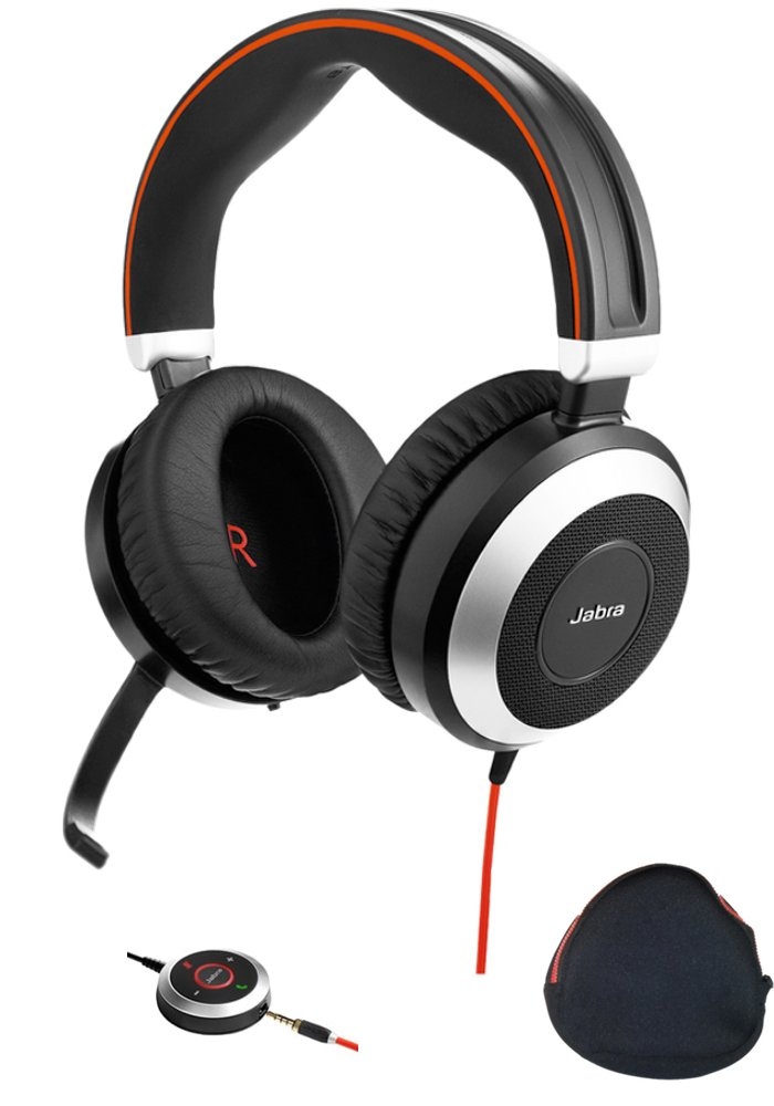 Jabra PC and Smartphone Headset with Active Environmental Noise Canceling Earphones and Noise Canceling Microphone   Evolve 80   For Unified Communications, Streaming Music, Softphones - Cisco Jabber, Webex, Skype, Lync and others   Bundle with USB Adapte by Global Teck
