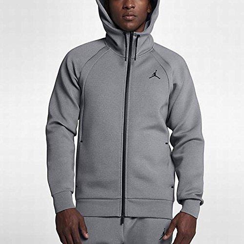 Nike Mens Jordan Flight Tech Fleece Full-Zip Hoodie - Carbon Heather/Black (X-Large) by NIKE