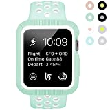BRG for Apple Watch Case with Band, Shock-proof and Shatter-resistant Protective Case with Silicone Sport iWatch Band for Apple Watch Series 3/2/1 Nike+ Sport Edition 38mm S/M, Mint Green/White