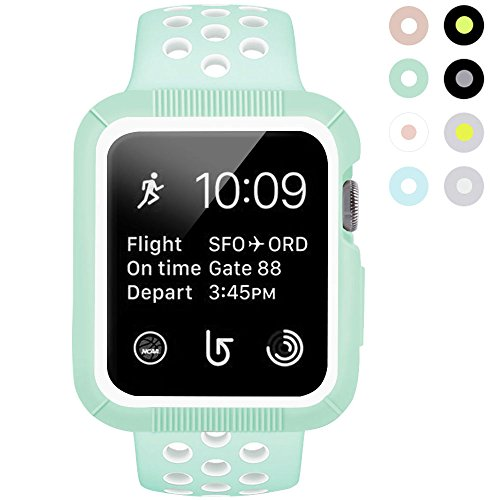 BRG Apple Watch Case with Band, Shock-proof and Shatter-resistant Protective Case with Silicone Sport iWatch Band for Apple Watch Series 2 Series 1 Sport and Edition 38mm S/M, Mint Green/White