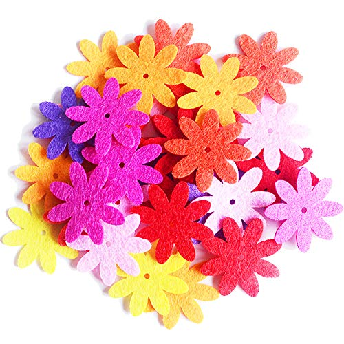 Felt Flowers Fabric Flower Embellishments for DIY Crafts Sewing Handcraft Assorted Color 100 PCS