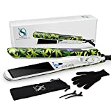 Natalie Styx Titanium Flat Iron, Hair Straightener with Dual Voltage LCD Control Hair Iron for All Hair Types | Inclus Glove, Hair Clips, Travel Pouch - Ideal Women Gifts