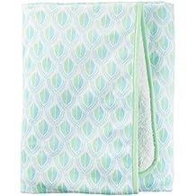 Carter' s Green Geo Velboa Blanket, White/Blue/Green, Newborn