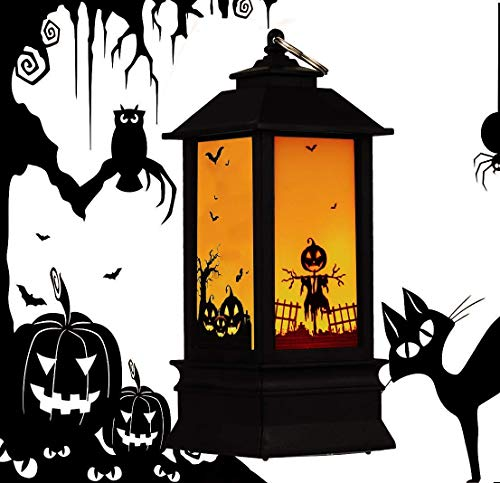 Halloween Decoration, Halloween Led Lanterns Large Spooky Pumpkin Castle Flame Lights up Hanging Lantern for Home Party Porch House Bar