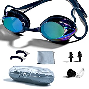PHELRENA Swimming Goggles, Professional Swim Goggles Anti Fog UV Protection No Leaking for Adult Men Women Kids Swim…