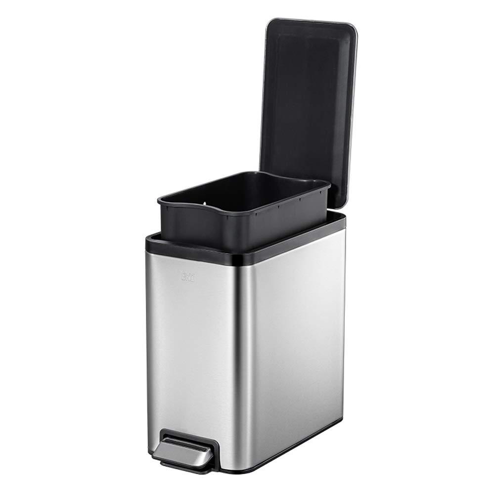 LIRIDP ごみ箱、長方形のゴミ箱、キッチン/バスルーム/リビング/オフィス用、ステンレス製ステップ缶、8L、銀、ごみ分別システム B07QMQFXFB