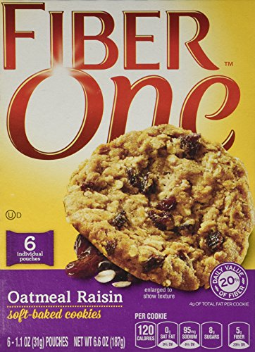 General Mills, Fiber One, Soft Baked Cookies, Oatmeal Raisin, 6.6oz Box (Pack of 4) by Fiber One